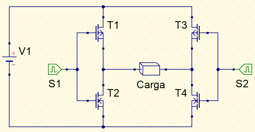 Simplified inverter with transistors