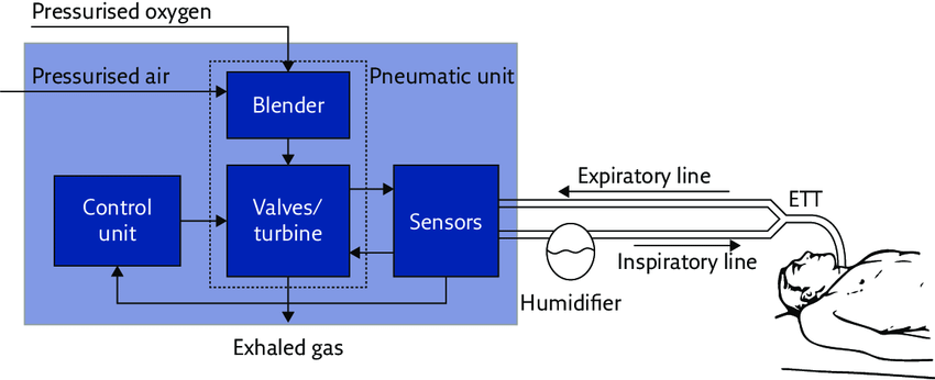 components of mechanical ventilator