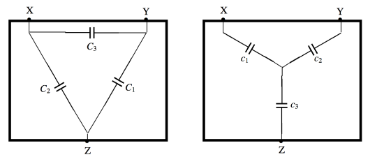 Star delta configuration with capacitors